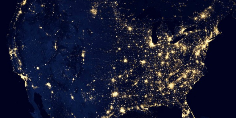 A night view of the USA from above
